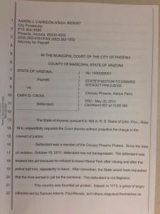 Phoenix Prosecutor Dismisses Nearly Two Dozen Occupy Phoenix Cases